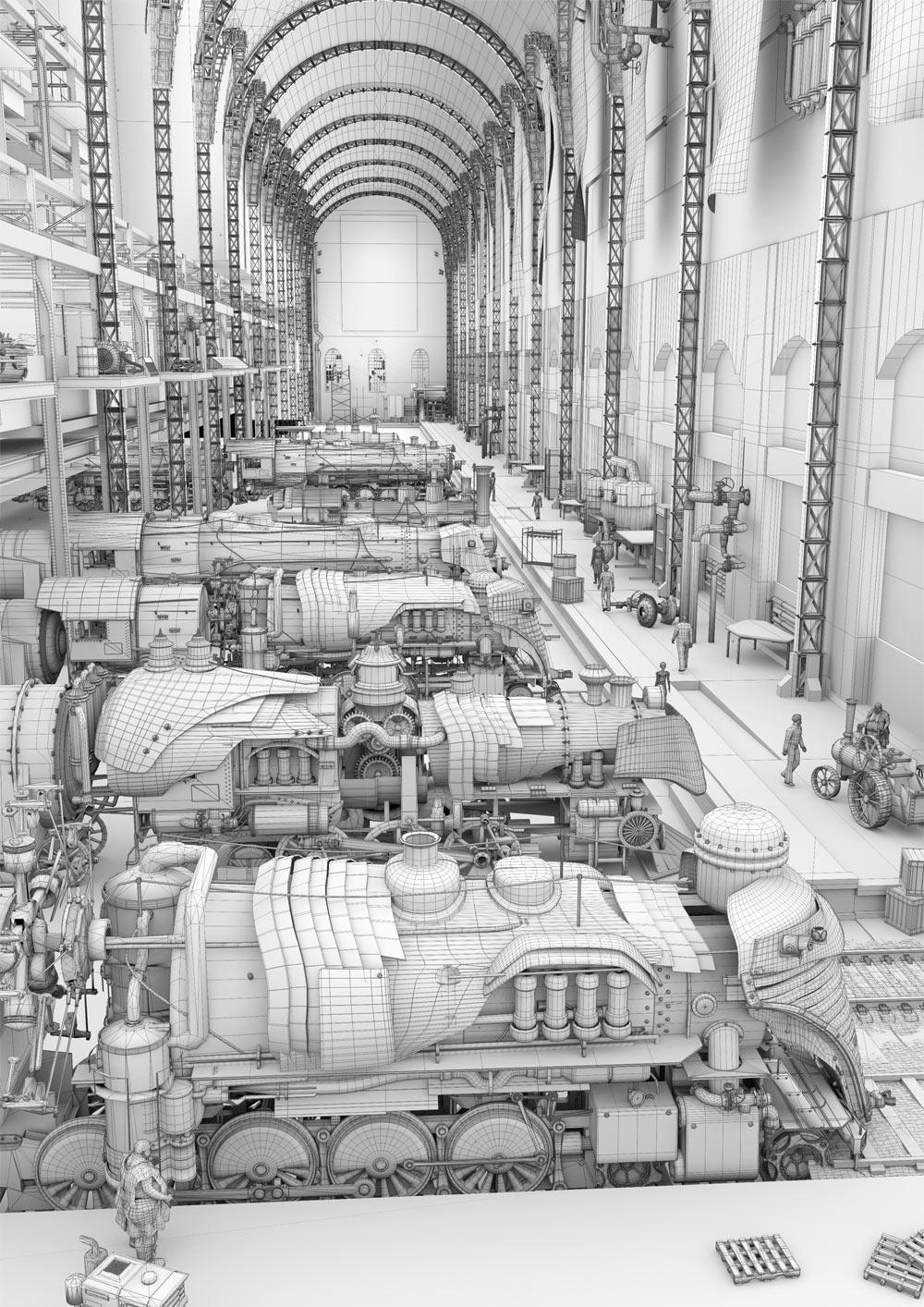steampunk trains wireframe