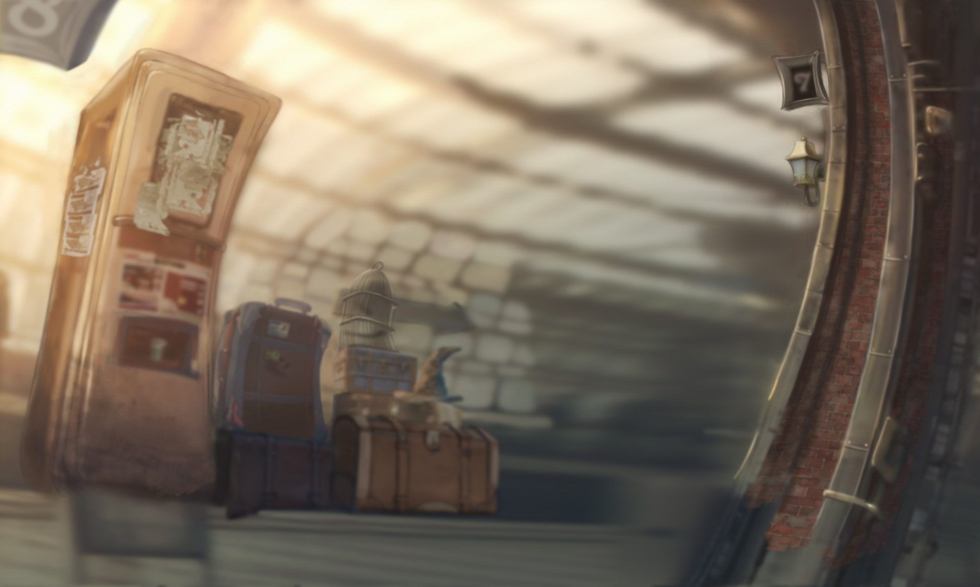 matte painting train station