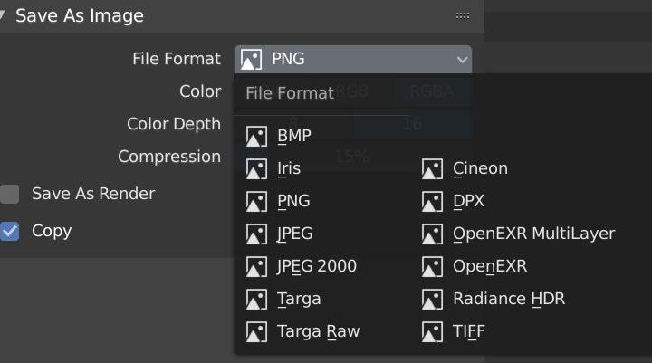 available file types in blender