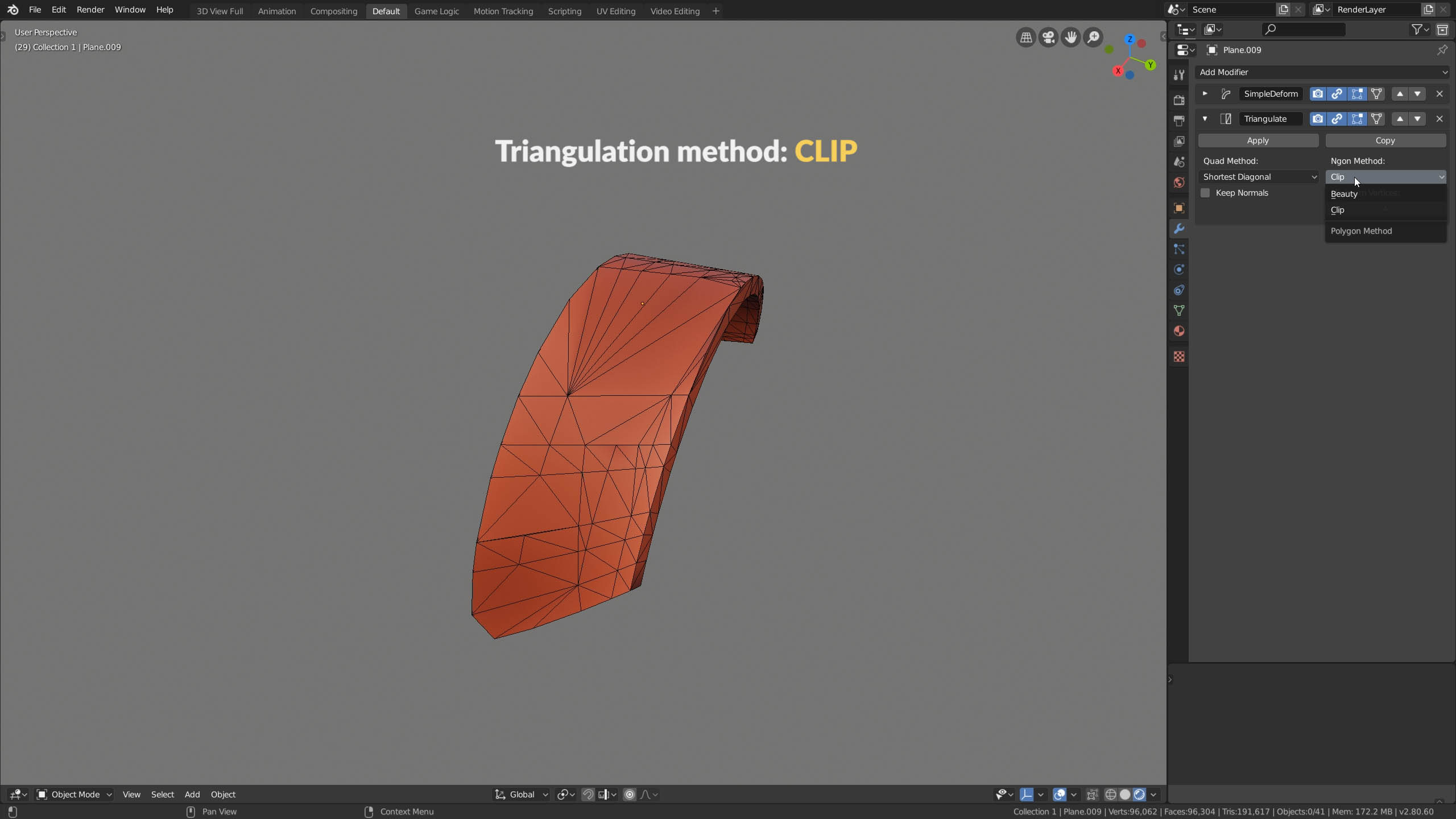 blender ngon triangulation clip